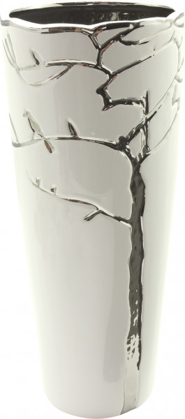 Modern deco vase flower vase table vase 'Vermont' ceramic white / silver height 27 cm