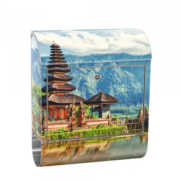 Stainless Steel Letterbox with Newspaper roll & Motif Bali Temple Nature | No. 0248