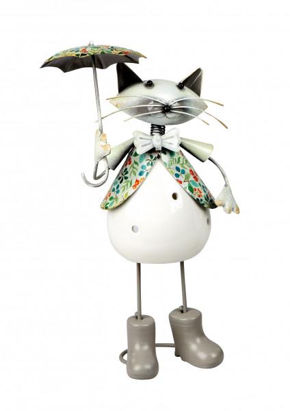 Modernes Windlicht Teelichthalter Windlichthalter in Form einer Katze aus Keramik/Metall weiß Höhe 2
