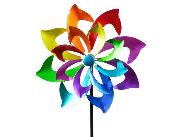 Windrad Windspiel Blume als Gartenstecker aus Metall blau, grün, lila und rot Länge 130 cm
