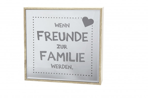Modern LED lettering in a mirror box real wood veneer 21 LEDs 4x21x21 cm (TxBxH)