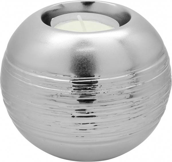 Modern tealight holder Tealight lamp made of ceramic silver glossy 11x11x9 cm