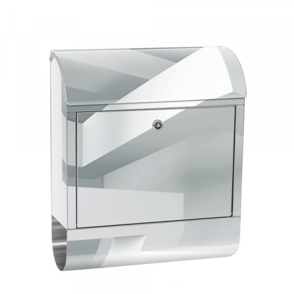 Stainless Steel Letterbox with Newspaper roll & Motif Abstract corners 3D | No. 0592