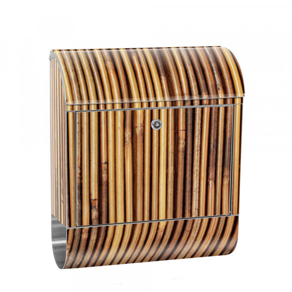 Stainless Steel Letterbox with Newspaper roll & Motif Bamboo forest nature Tropes | No.0173