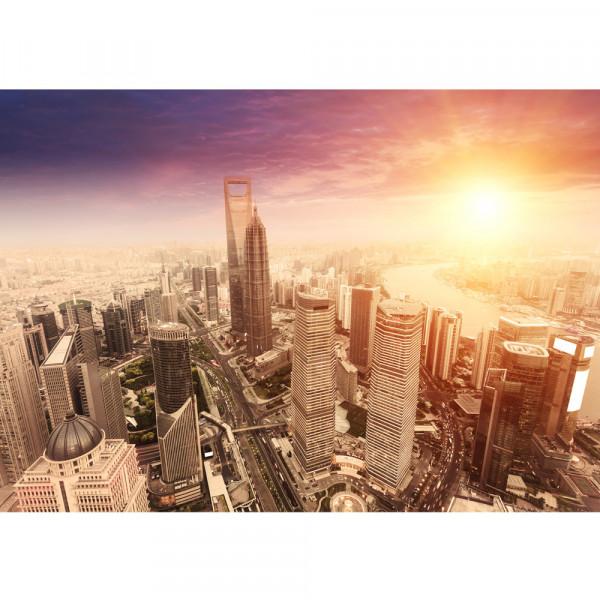 Vlies Fototapete Shanghai Sunset SkylineShanghai Tapete Skyline Schanghai Wolkenkratzer Hochhäuser