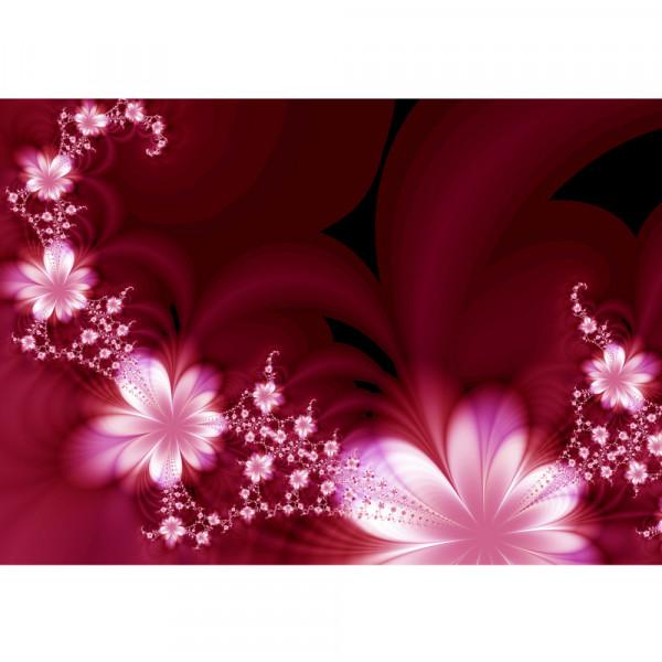 Vlies Fototapete Red Flower Ornaments Blumen Tapete Ornamente Blumen Orchidee Rot Blumenranke rot
