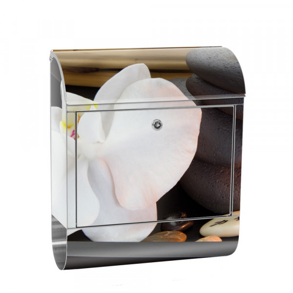 Stainless Steel Letterbox with Newspaper roll & Motif Orchid Relax Wellness | No.0279