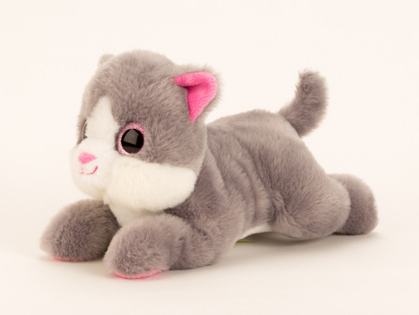 Cuddly sweet cat with big eyes in gray / white length 27 cm