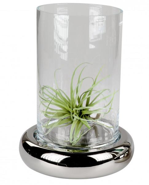 Modernes Windlicht Kerzenständer aus Keramik und Glas in silber Höhe 28 cm