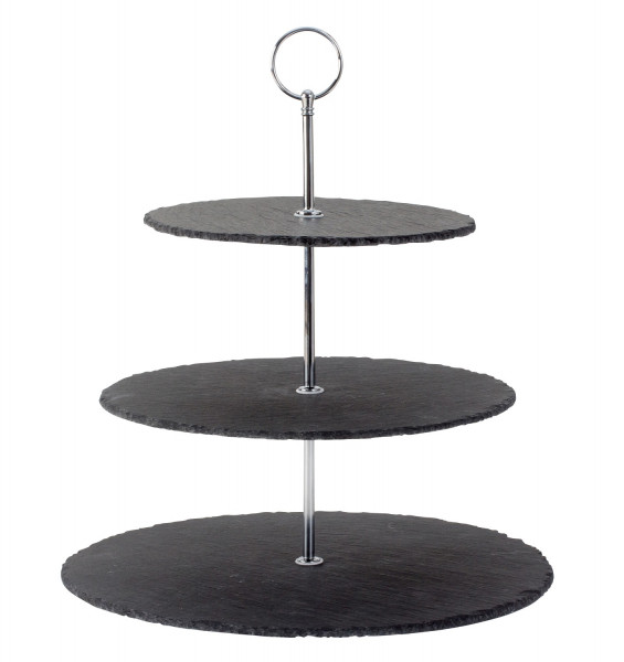 Etagere Pastry Bowl Fruit Bowl Made of Slate with 3 Levels and Stainless Steel Handle Height 34 cm