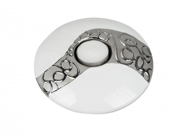Modern tealight holder Tealight lamp ceramic white / silver diameter 15 cm