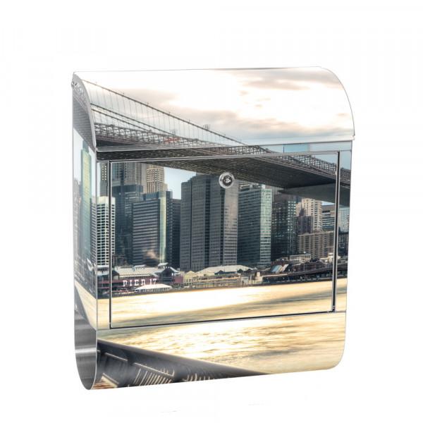 Edelstahlbriefkasten mit Zeitungsrolle & Motiv Brooklyn Bridge NYC | no. 0043
