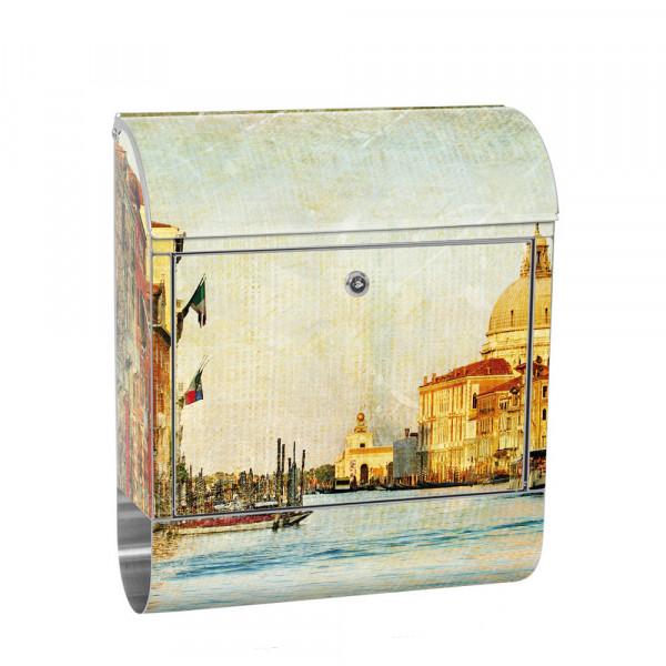 Edelstahlbriefkasten mit Zeitungsrolle & Motiv Venedig Italien Städte | no. 0228