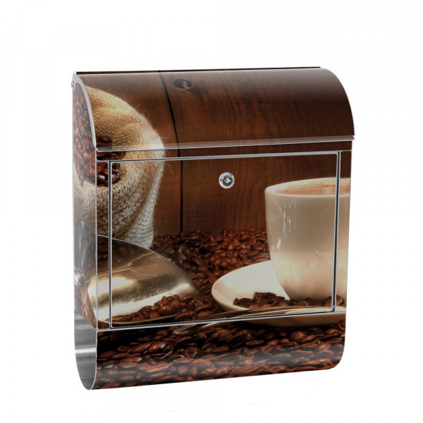 Stainless Steel Letterbox with Newspaper roll & Motif Coffee beans wood | No. 0866