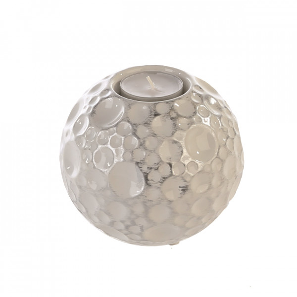 Beautiful tealight holder candle holder made of ceramic in white / silver white height 9 cm