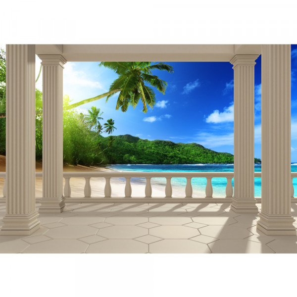 Vlies Fototapete Terrace View Caribbean Beach Meer Tapete Ausblick Terrasse Seeblick 3D Strand Sonne