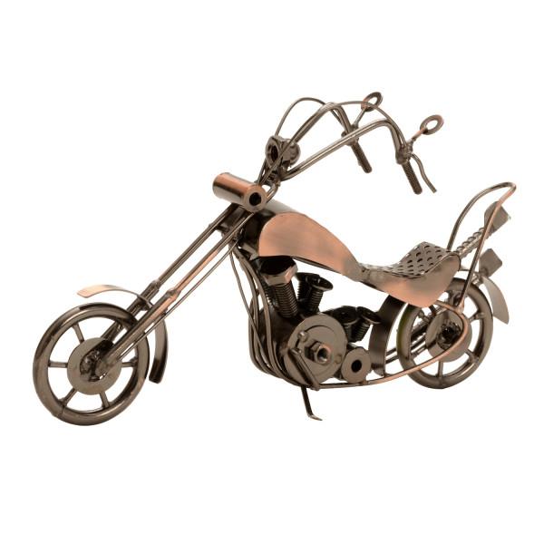 Moderne Skulptur Dekofigur Motorrad aus Metall kupferfarben Länge 27 cm