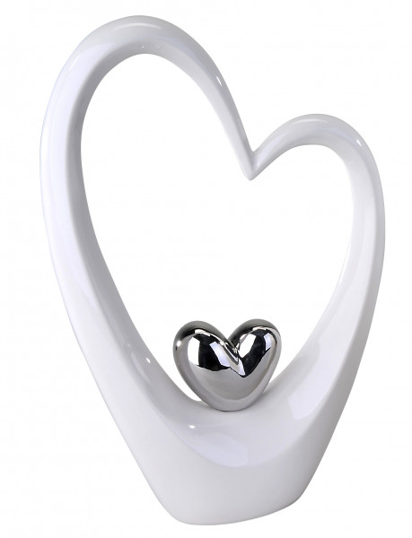 Modern sculpture in the shape of a heart white / silver height 37 cm