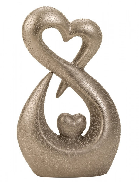 Modern heart sculpture made of ceramic with pearl structure in silver Height 26 cm Width 17 cm