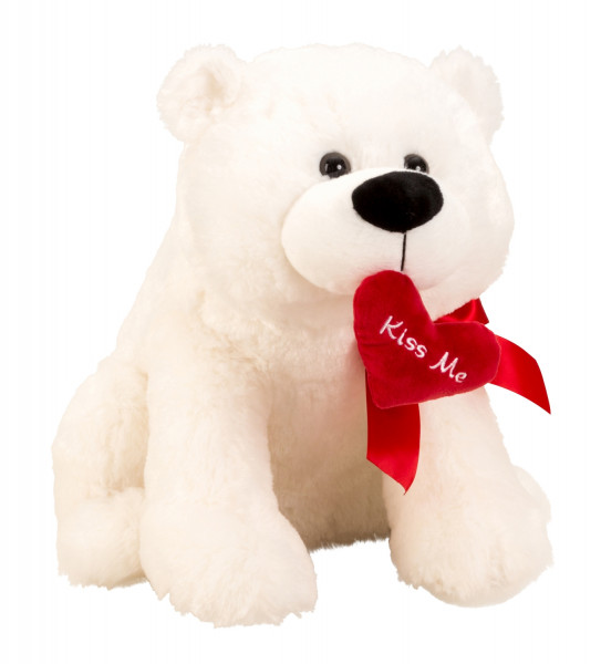 Cuddly polar bear Plush bear 39 cm big with red heart Kiss me