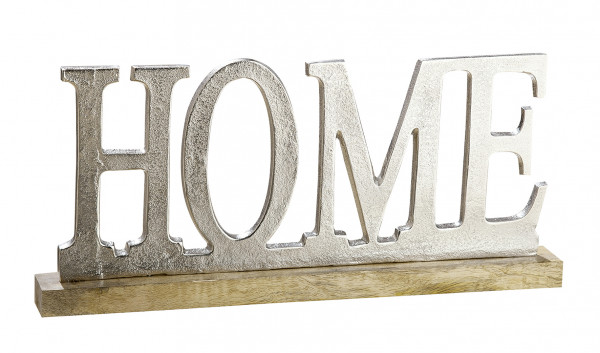 Modern lettering HOME silver on mango wood 48x5x22 cm