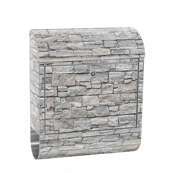 Stainless Steel Letterbox with Newspaper roll & Motif stone Stone Optic Wall | No. 0171
