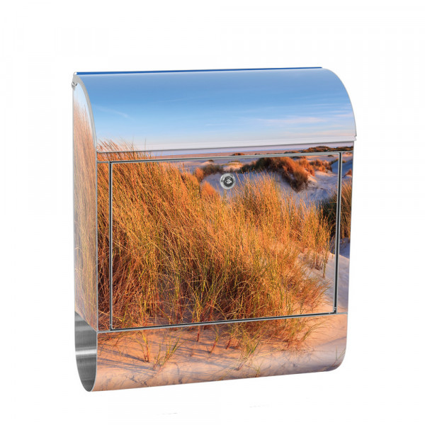 Stainless Steel Letterbox with Newspaper roll & Motif beach dune Water | No. 0246