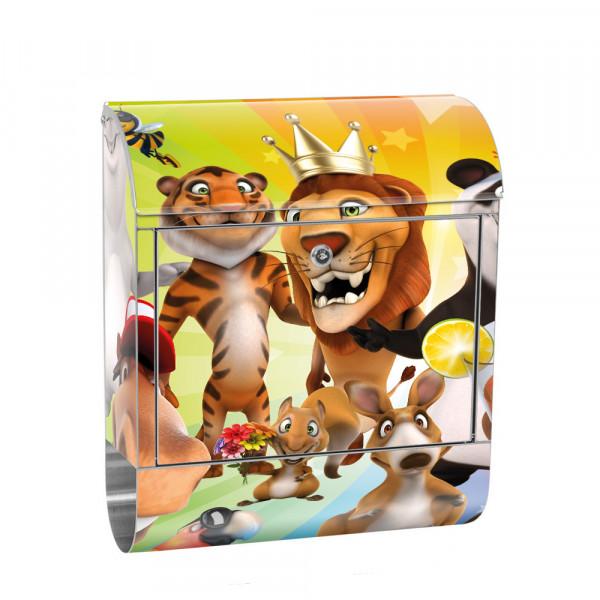 Edelstahlbriefkasten mit Zeitungsrolle & Motiv Kinder Zoo Tiere | no. 0088