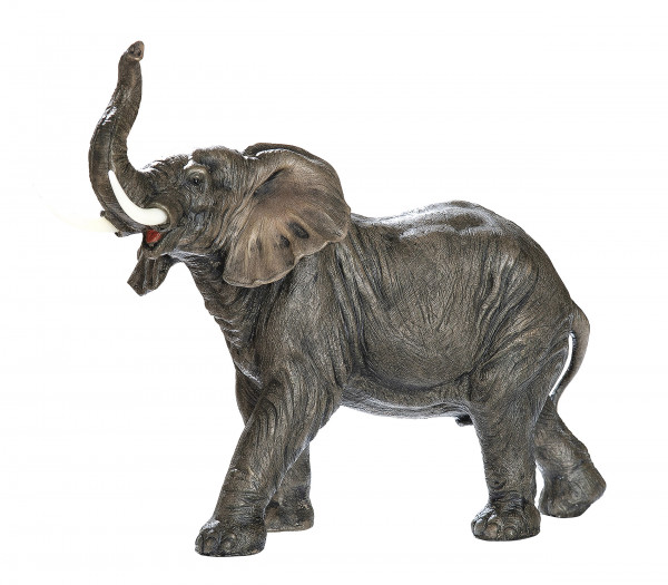 Large sculpture Deco figurine Elephant Natura made of artificial stone brown / gray Height 26 cm Width 33 cm
