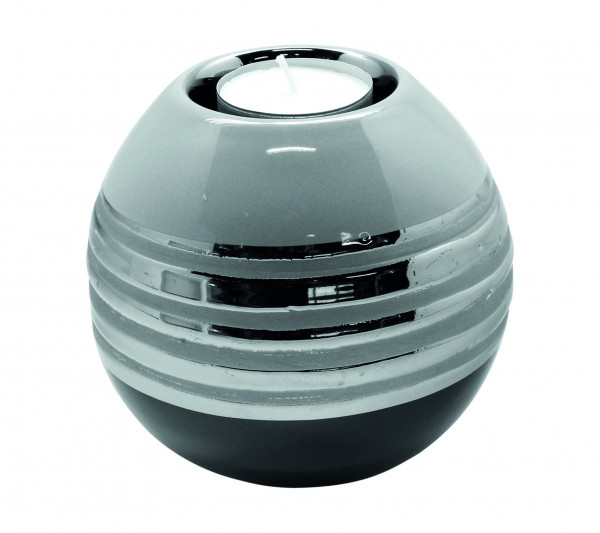 Moderner Teelichthalter Teelichtleuchte Windlicht aus Keramik silber grau Durchmesser 11 cm