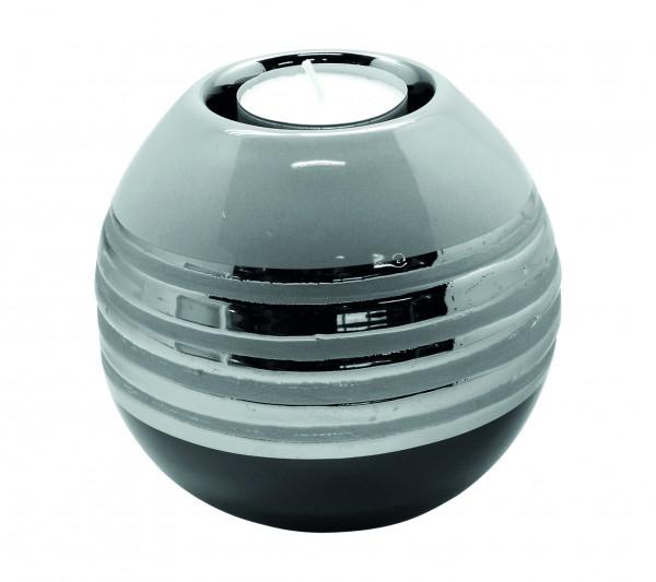 Modern tealight holder tealight lamp lantern ceramic silver gray diameter 11 cm