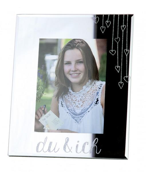 Moderner Bilderrahmen Fotorahmen 'du & ich' aus Glas Silber 13x18 cm