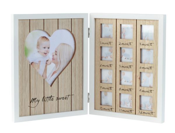 Baby Bilderrahmen Fotorahmen 12 Monate aus Holz aufklappbar Höhe 25 cm Breite 41 cm