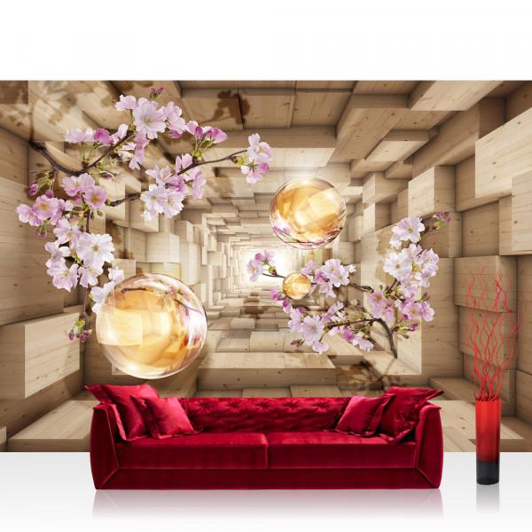 Vlies Fototapete 3D Tapete Abstrakt Kirschblüte Perle Rechteck 3D Holzoptik Blumen braun