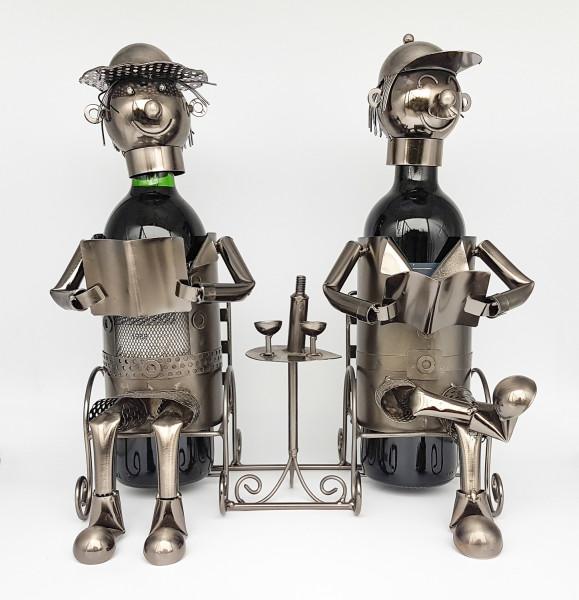 Modern Weinflaschenhalter read couple of metal height 33 cm width 30 cm