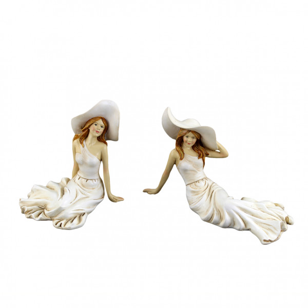 Modern deco figures women with hat sculptures sitting set of 2 poly beige 19x9x11 cm