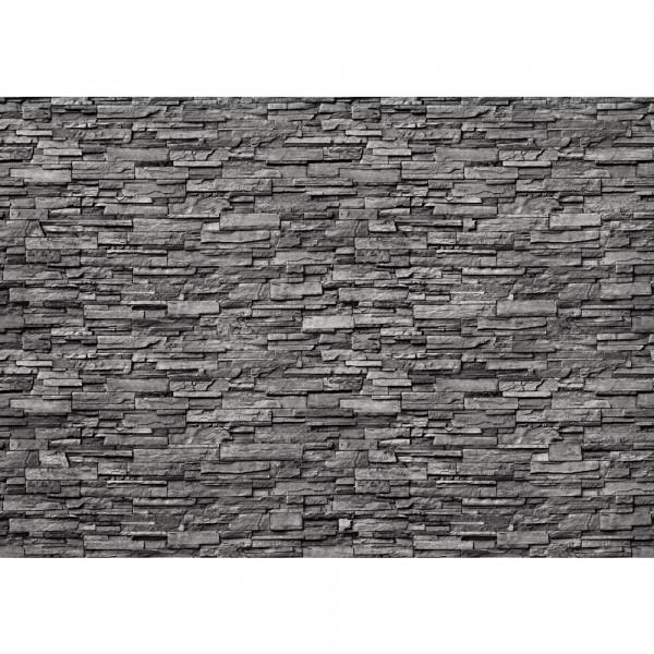 Vlies Fototapete Noble Stone Wall 2 – anthrazit anreihbar Steinwand Tapete Steinoptik Wall anthrazit