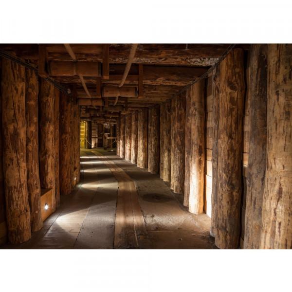 Vlies Fototapete Salt Mine Berge Tapete Salzbergwerk braun Holz Bergwerk Stollen rustikal Balken 3D