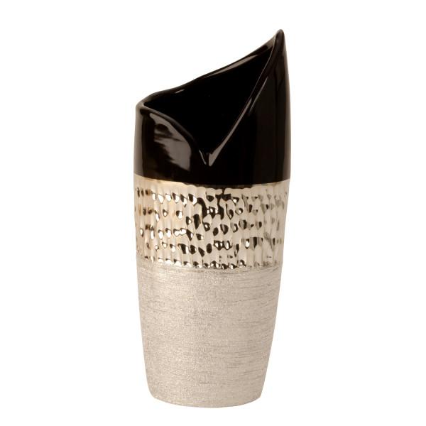 Moderne Dekovase Blumenvase Vase aus Keramik anthrazit/silber Höhe 30 cm