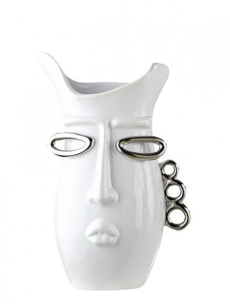 Modern deco vase flower vase Table vase ceramic vase white / silver Height 30.5 cm Width 19 cm
