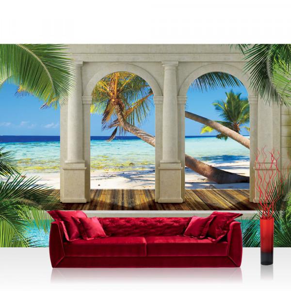 Vlies Fototapete Meer Tapete Architektur Paradies Strand Bogen Palmen blau