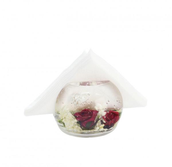 Exklusiver Serviettenständer Serviettenhalter 'Birds Paradise' aus Glas 10x7 cm *Exklusive Handarbei