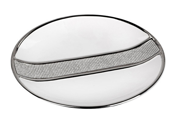 Beautiful decorative bowl of fruit bowl dish ceramic white with silver embellishments diameter 31 cm