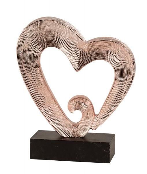 Moderne Herz Skulptur kupferfarben aus Poly inklusive schwarzem Sockel Höhe 26 cm