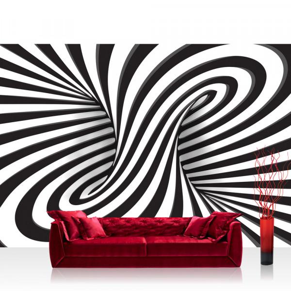 Vlies Fototapete 3D Tapete Abstrakt Linien Kreisel 3D schwarz - weiß