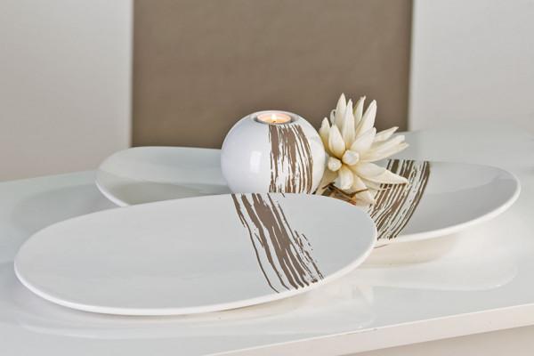 Moderne Deko Schale STRIPES weiß/grau aus Keramik Länge 39 cm Breite 24 cm