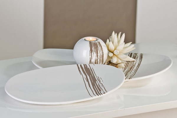 Modern Decorative Bowl White / Grey STRIPES Ceramic Length 39 CM Width 24 CM