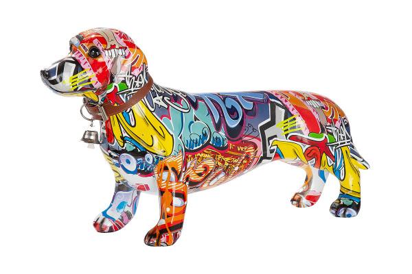 Moderne Skulptur Dekofigur Dackel Hund POP ART aus Kunststein Mehrfarbig 36x20 cm