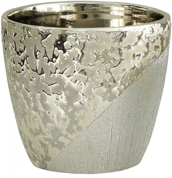 Beautiful planter for flowers ceramic champagne-silver 14x14x12 cm