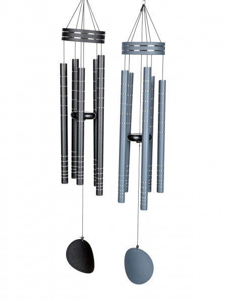 Modern wind chime of metal in black or anthracite with silver applications height 90 cm
